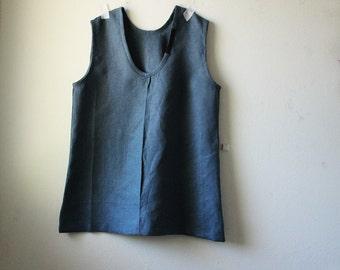 LINEN TUNIC / indigo / tank / top / women's linen clothing / eco / organic / vegan clothing / made in australia by pamelatang