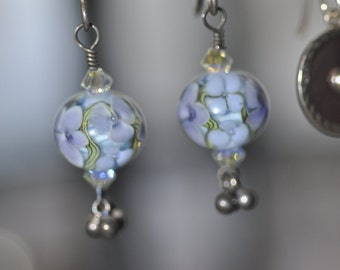 Lavender, Green and White Floral Lampwork Earrings