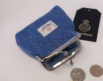 Harris Tweed Coin Purse / Handmade /Blue Herringbone