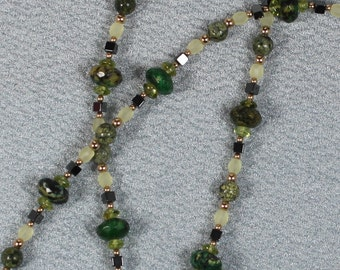 Gold-filled Green Mystery Jasper and Peridot Necklace