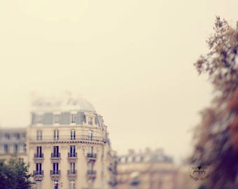 Paris photography, travel photography, lensbaby, wall art, home decor, gifts for her, autumn, fine art photography, architecture, france