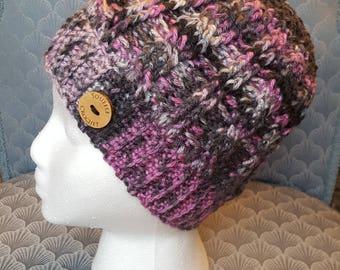 Womans Crochet Messy Bun Beanie