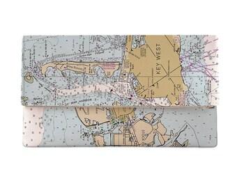 FL: Key West, FL Nautical Chart Clutch, Map Clutch Bag, Map Purse