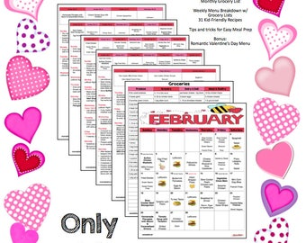 February 2018 Monthly Meal Planer with Weekly Grocery Lists and Recipes - Valentine's Day - Budget Meal Planner - Menu Planner - Printable