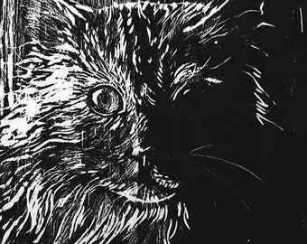 Cat Woodblock Print, Hand Inked and Hand Pulled
