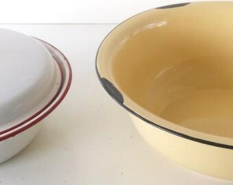 ENAMEL WARE Vintage White/Red  Strainer + Yellow/Blk Bowl