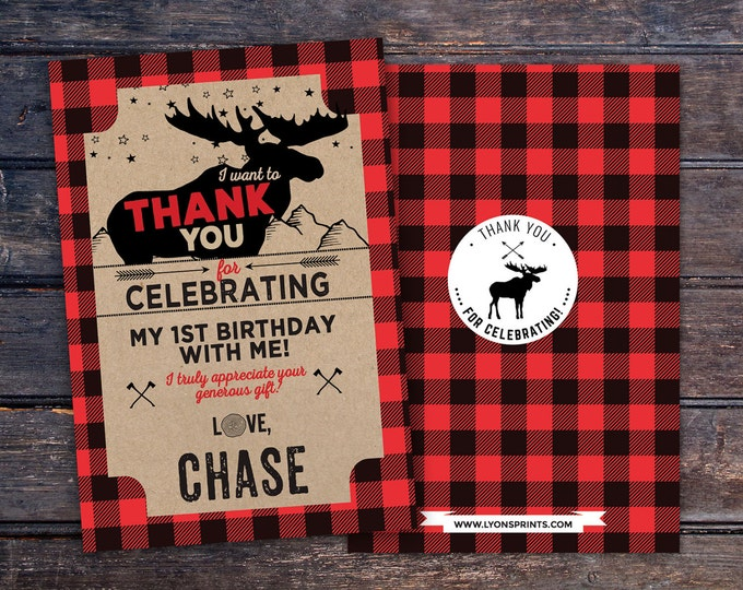 Lumberjack thank you card, Lumberjack birthday //  Buffalo Plaid Woodland // Rustic //  moose, bear , camping