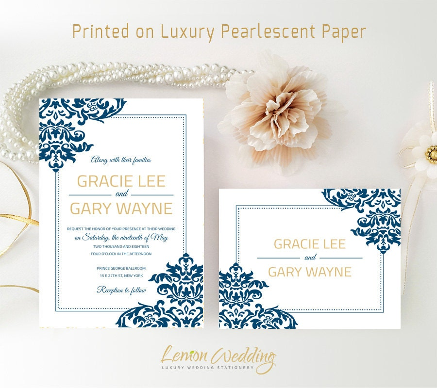 Royal Blue Wedding Invitations Printed On White Shimmer