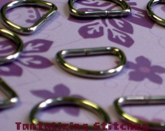 40 Pieces Unwelded D rings - 0.6 inch / 15 mm - Choose Your Finish (nickel, antique brass, gun metal)