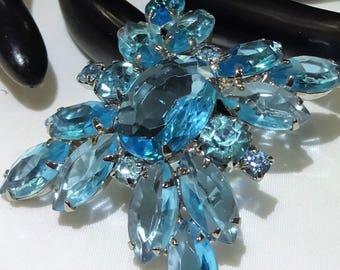 Beautiful Juliana D & E Dome Aqua Blue Rhinestone Brooch