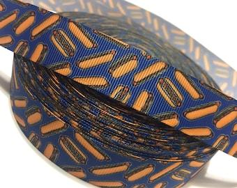 7/8 HotDog ribbon, Hotdog Grosgrain Ribbon, Hot Dog Ribbon, Food Ribbon, Hot Dog Bun ribbon