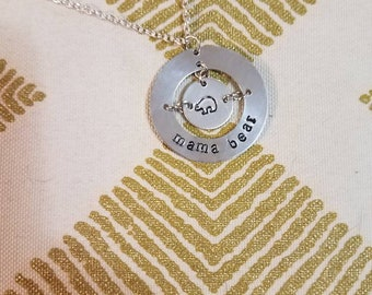 Beautiful Hand Stamped 'Mama Bear' Necklace