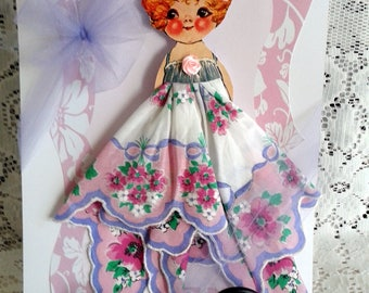Betty Dolly Dingle Paper Doll Hankie Card