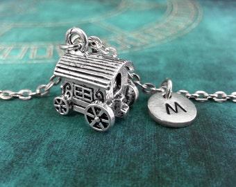 Gypsy Cart Necklace, Initial Necklace, Gypsy Necklace, Gypsy Charm, Caravan Monogram Necklace, Hand Stamped Jewelry Personalized Key Chain