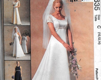 McCalls 8635 Alicyn Wedding Bridal Gown Dress Bridesmaid Evening Prom Sewing Pattern UNCUT Size 10, 12, 14