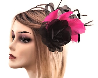Beautiful Black and Fuchsia Pink Rose Flower Fascinator on a Hair Clip with Brooch Pin
