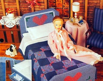 Country Attic Bedroom By Judy Blok And Annie's Fashion Doll Plastic Canvas Club Vintage Plastic Canvas Pattern Leaflet 1995