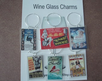 wine glass charms vintage movie posters set 6 tags movies based on Agatha Christie books