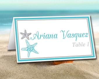"""DIY Wedding Place Card Template - Printable Escort Card Template """"Blissful Starfish"""" Turquoise Silver Wedding Table Card - Wedding Reception"""