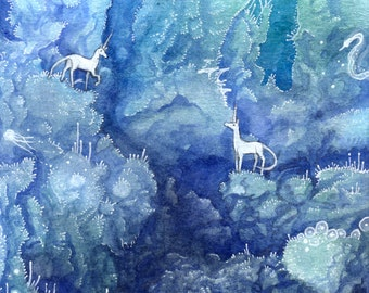 "4""x6"" Archival Limited Edition Archival Lustre Art Print ""Meeting"" surreal unicorn creatures watercolor fantasy"