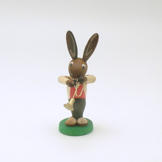 Vintage Easter Decoration Wood Bunny Rabbit Figurine Erzgebirge Germany