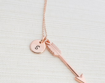 Rose Gold Initial & Arrow Necklace, Initial Jewelry, Rose Gold Plated Disc Necklace,  Rose gold Arrow Necklace,  A great gift idea