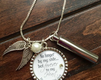 Pet urn necklace etsy personalized pet cremation necklace no longer by my side but forever in my heart keepsake aloadofball Choice Image