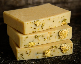 Chamomile and Goat's milk handmade Natural Soap. Extra gentle facial cleansing bar soap for sensitive or dry skin.