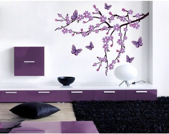 Lilac Blossom Branch wall decal, sticker, mural, vinyl wall art