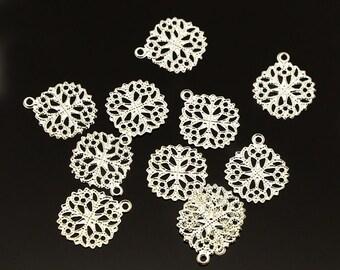 50pc 15x13mm bright silver finish filigree charms-9816