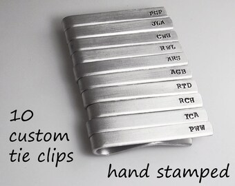 Tie Clip Tie Bar Set of 10 Custom Hand Stamped Tie Clips Groomsman Gift Christmas Gift Personalize Custom Tie Bars Wedding
