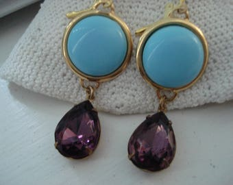 Vintage Art Deco Sleeping Beauty Turquoise and Purple Amethyst Faceted Glass Teardrops Gold Pierced Statement Earrings
