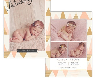 Birth announcement photoshop template - INSTANT DOWNLOAD - E1118