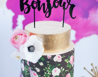 Bonjour French and Parisian Inspired Wedding Cake Topper, Laser Cut, Acrylic