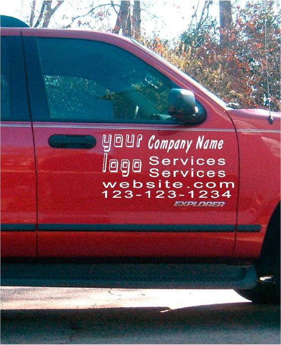 Car truck van door decals vinyl letters sticker custom
