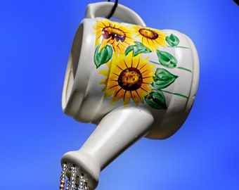 Sunflower Watering Can, Suncatcher, Crystal Suncatcher, Crystal Sun Catcher, Windchime, Sun Catcher, Suncatcher Crystal, Wind Chimes,Upcycle