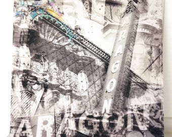 """Chicago 13"""" Canvas Wall Art - Aragon Theater Photo Collage"""