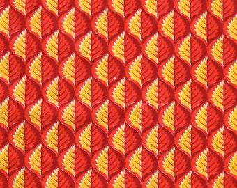 Hand Block Printed Fabric - Red Yellow and Orange Leaf Print - 1 Yard - ctsm082