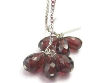 Long Garnet Earrings, Sterling Silver Threader Earrings, Red Gemstone Cluster Earrings, Chain Earrings, January