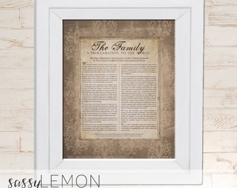 8x10 The Family, A Proclamation to the World - Wall Art ,Sign, Typography, Decor, Printable or Printed, LDS - Instant Download