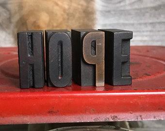 Vintage PRINTER'S Blocks- Wood Typeset Letters- HOPE- Typography- Industrial Printing Press- Vintage Letterpress Print Alphabet