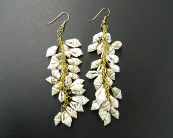 Vintage shell cluster drop earrings