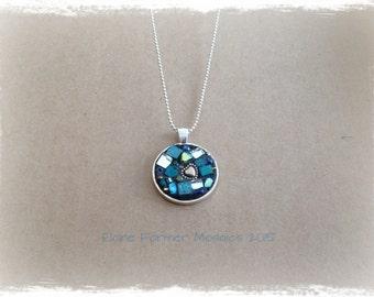 Green Circle Mosaic Necklace Pendant