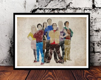 The Big Bang Theory Sheldon Cooper Leonard Hofstadter Bazinga Jim Parsons comedy TV show soft kitty A4 watercolour print wall art home decor