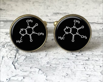 Caffeine Cufflinks,  Molecule Cuff Links, Science Cufflinks, Coffee Cufflinks, Coffee Lover Gift, Coffee Gift, Geeky Cufflinks, Cuff Links