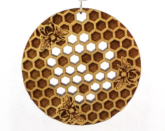 Round Honeycomb Yellowheart Wood Pendant - Yellow Wooden Beehive Necklace