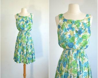 60s Dress  50s Dress / Floral Print / Sleeveless Sundress / Garden Party Dress / extra small