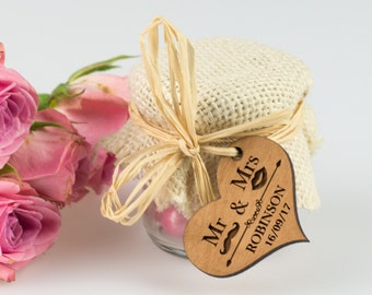 50x 45ml Wedding Favour Jar with Wooden Gift Tag