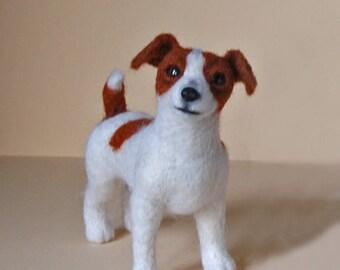 Needle Felted Jack Russell Terrier Miniature Dog . Needle felted animal. Dog portrait.