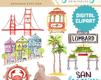 SAN FRANCISCO Digital Clipart Instant Download Illustration Clip Art Watercolor City Golden Gate Bridge Painted Ladies California Roadtrip